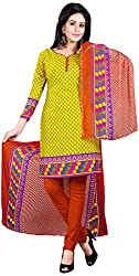 Manmauj Women's Cotton Unstitched Dress Material (MM10060DYLW, Yellow)