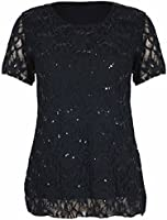 Womens New Floral Lace Sequin Ladies Scoop Neck Short Sleeve T-Shirt Party Top Plus Size
