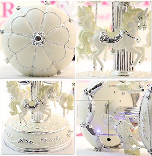 LIWUYOU Luxury Large Size Color Change LED Light Luminous Rotating Carousel Horse Musical Box With Music of Castle in the Sky Color Beige 3
