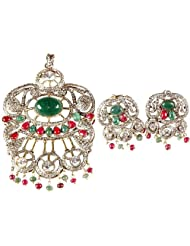 Exotic India Emerald And Ruby Victorian Pendant With Earrings - Copper And Metal