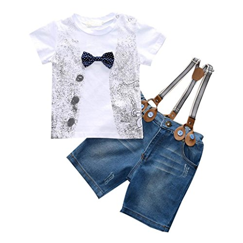 Kingko® Bambini ragazzi del bambino bello T-shirt + denim pantaloni + cinghie vestiti Outfits (4 anni)