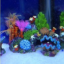 Aquarium Resin Coral Conch Shells Aquatic Plants Rockery Decoration