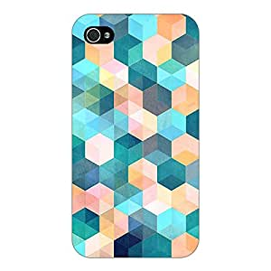 Jugaaduu Blue Hexagon Pattern Back Cover Case For Apple iPhone 4