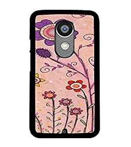 Printvisa Pink And Puple Flowers Back Case Cover for Motorola Moto X2::Motorola Moto X (2nd Gen)