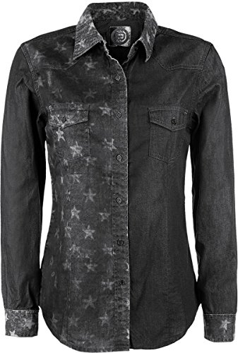 R.E.D. by EMP Star Jeans Shirt Camicia donna nero/grigio XL