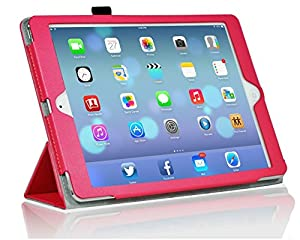 InventCase Apple iPad Air Tablet (1st Generation - 9.7-Inch) 2013 Smart Multi-Functional Leather 3-Fold Case Cover with Sleep Wake Function - Pink