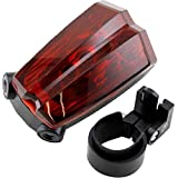 LotFancy® Outdoor Night / Evening Cycling Camping Bike Bicycle Rear Tail Light Lamp Torch (Flashing Alarm Warning Caution) - 2 Laser Beam and 5 LED - 6 Combination Modes Safety