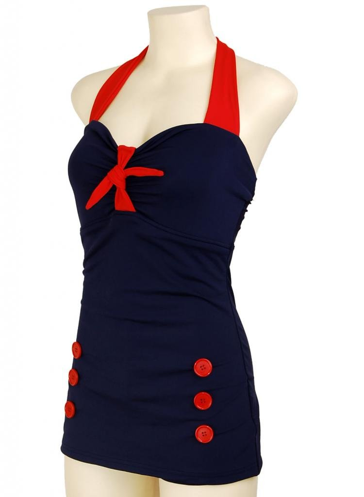 Bow Front Navy Blue Vintage Pin up Rockabilly Women's Swimsuit Swimwear 2