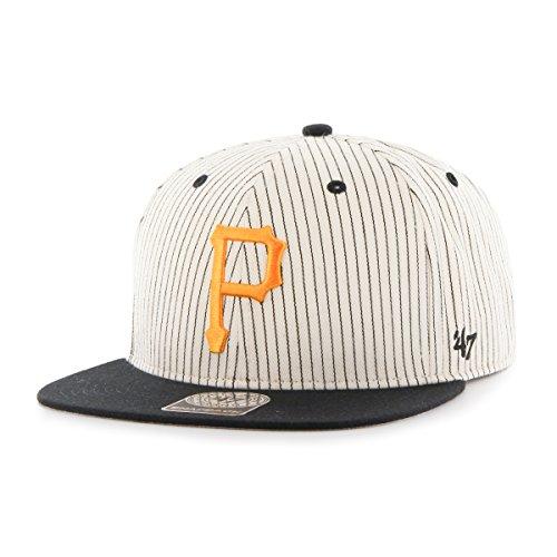 MLB Pittsburgh Pirates Woodside '47 Captain Adjustable Snapback Hat, black, One Size,Black