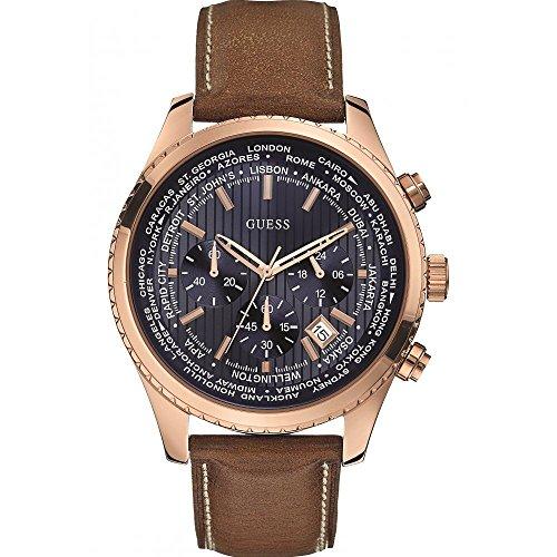 Guess W0500G1 - Reloj de cuarzo para hombre, correa de cuero color marrón