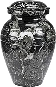 The UrnConcern® Bendemeer Cremation Urn, A Black Grain Polished Marble Urn, 3""