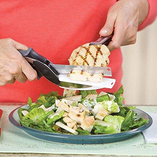 Tomkity 2 en 1 Couteau à Découper & Ciseaux Cuisine Herbes Outil de Coupe Légumes Fruits en Acier Inoxydable