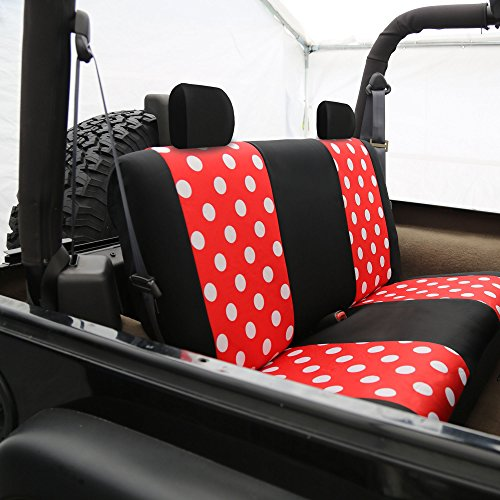 fh group fh fb115114 full set fun polka dots car seat covers red color fit most car truck. Black Bedroom Furniture Sets. Home Design Ideas