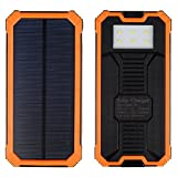 Solar Charger, Solar External Battery Pack, iBeek® Portable 12000mAh Dual USB Solar Battery Charger Power Bank Phone Charger with Carabiner LED Lights for EmergencyCell Phones Tablet Camera (Orange)