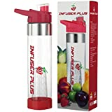Infuser Plus 24 Oz Fruit And Vegetable Infusion Water Bottle With Bottom Infuser - Innovative & Compact Design...