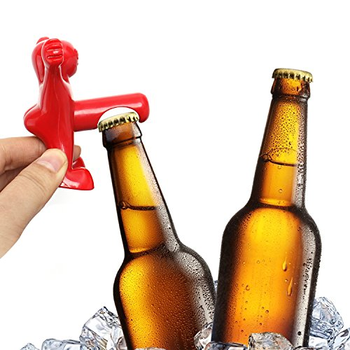 Wine Stopper and Opener Set, Includes Three Cute Red Men of Novelty Bottle Opener, Corkscrew and Stopper, Perfect Gag Gifts Collection for Men and Women