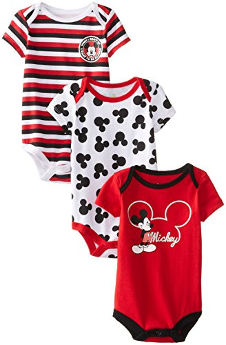 Disney Baby-Boys Newborn Mickey Mouse 3 Piece Creeper Set, Chinese Red, 6-9 Months