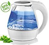 Glas Design Wasserkocher exclusive blaue LED Innen Beleuchtung 2.200 Watt