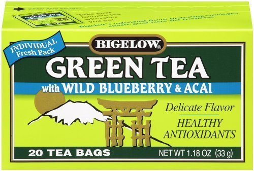 Bigelow Green Tea With Wild Blueberry & Acai 20-Count Box