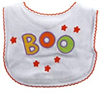 Luvable Friends Halloween Embroidered Bib, White