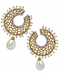 The Jewelbox Filigree Chaand Gold Plated Pearl Drop Earring For Women