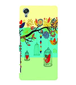 PrintVisa Corporate Print & Pattern Bird Cage 3D Hard Polycarbonate Designer Back Case Cover for Sony Xperia X