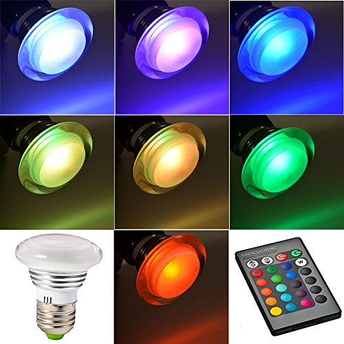Mudder® E27 Rgb 3W Led Bulb Spot Lamp Light 16 Color Changing With Ir Remote Controller