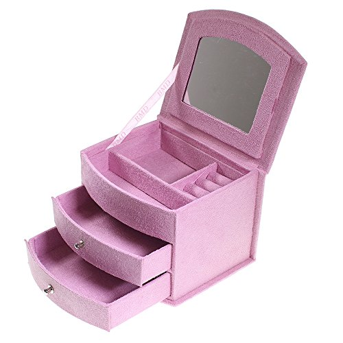 Luxury Baby Pink Suede Velvet Jewelry Jewellery Storage Box With Lid And Draws By Kurtzy Tm front-363773
