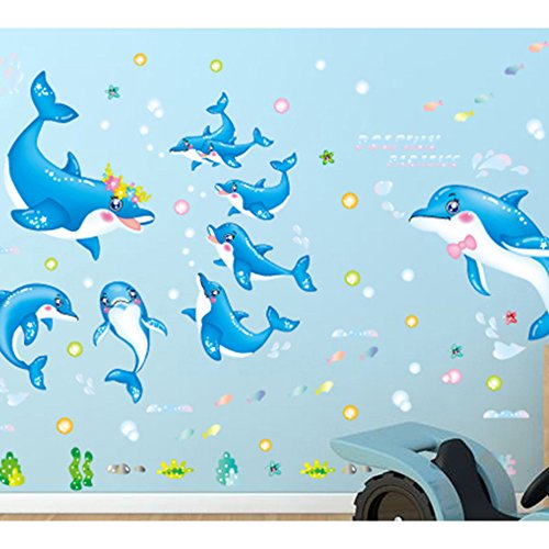 japace cartoon niedlich delphin wandtattoo aufkleber f r nursery kinderzimmer schlafzimmer. Black Bedroom Furniture Sets. Home Design Ideas