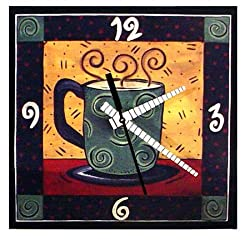 "Decoupage Art Wall Clock - ""Coffee Time"", 8-inch Version"