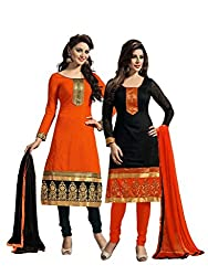 Manthan Latest Collection of 2 Pieces Combo in Chanderi Fabric & in attractive Orange & Black Color