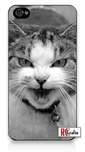 Premium Direct Print Angry & Mean Kitty Cat w/ Attitude iphone 6 Quality Hard Snap On Case for iphone 6/Apple iphone 6 - AT&T Sprint Verizon - White Case PLUS Bonus RCGRafix The Best Iphone Business Productivity Apps Review Guide