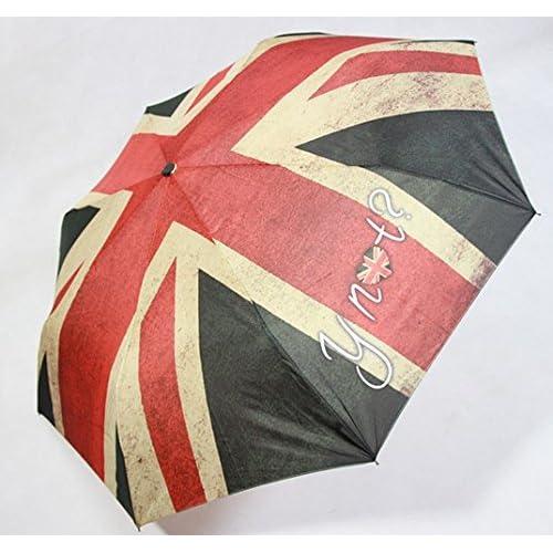 折り たたみ 傘 コンパクト 軽量 梅 雨 レイン コート 不要 旅行 国旗 オレンジ 柄 ケース 付き かわいい 晴 雨 兼 用 (b イギリス)