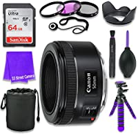 Canon EF 50mm f/1.8 STM Lens for Canon DSLR Cameras & SanDisk 64GB Class 10 Memory Card + Complete Accessory Kit (11 Items)