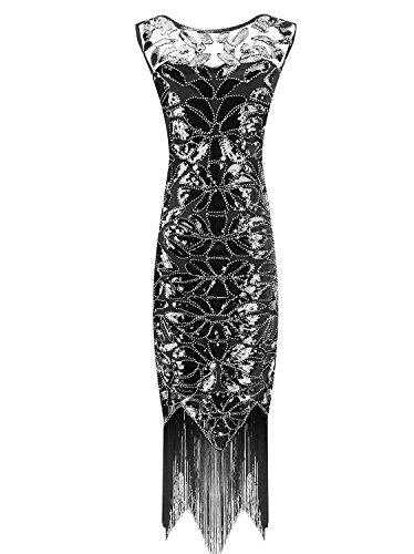 Urmine Women's 1920's Gatsby Fringed Classic Ball Cocktail Evening Party Flapper Dress (XL, Black-ur01)