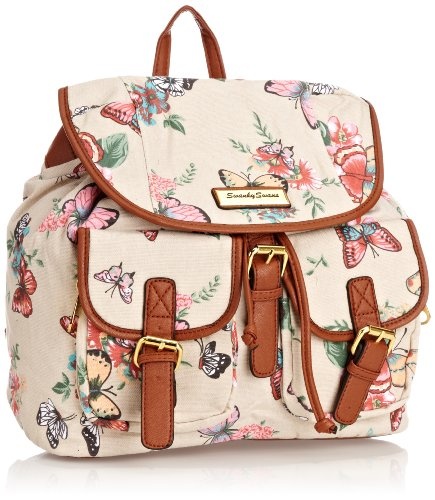 SWANKYSWANS Girls Casper Butterfly Floral Rucksack Bag OW Backpack B495-L Beige