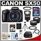 Canon PowerShot SX50 HS Digital Camera (Black) with 32GB Card + Battery + Case + Flash + Flex Tripod + Telephoto & Wide-Angle Lenses + Accessory Kit