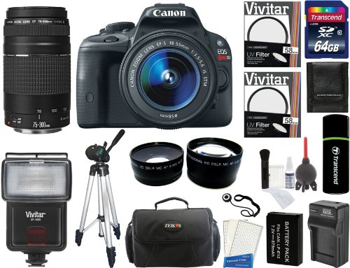 Canon Eos Rebel Sl1 Digital Slr Camera With Ef-S 18-55Mm F/3.5-5.6 Is Stm Lens + Canon Zoom Telephoto Ef 75-300Mm F/4.0-5.6 Iii Autofocus Lens + 64Gb Card + Flash + Tripod + Case + Battery + Filters + 2 Lenses + Accessory Kit
