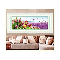 5D Precise Printing Diamond Painting Living Room Cross Stitch Magic Cube Diamond Tulip Garden