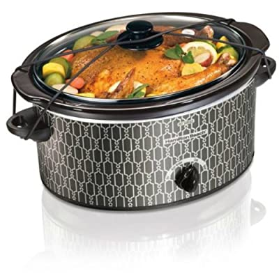 Hamilton Beach 5-Quart Portable Oval Slow Cooker Crockpot (Grey Trellis)