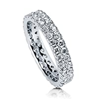 BERRICLE Sterling Silver Cubic Zirconia CZ Womens Wedding Bridal Anniversary Eternity Band Ring by BERRICLE