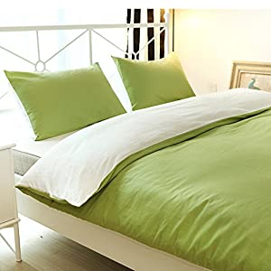 Vaulia 300 Thread Count 100% Percale Cotton Duvet Cover Sets, Reversible Solid Color Design, Green and White, Full/Queen