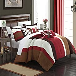 Highland Burgundy, Brown & Cream 11 Piece Comforter Bed In A Bag Set with Sheet Set