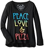 Dirtee Hollywood Big Girls' Peace Love and Pizza Tissue Tee, Black, Small