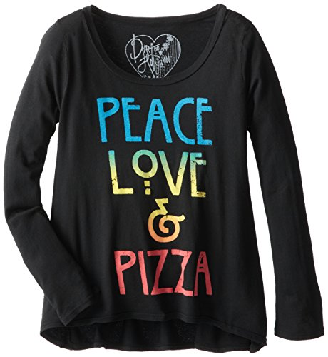 Dirtee Hollywood Big Girls' Peace Love and Pizza Tissue Tee, Black, X-Large
