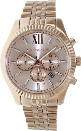 Michael Kors Oversize Rose Golden Stainless Steel Lexington Chronograph Women'S Watch #Mk8319