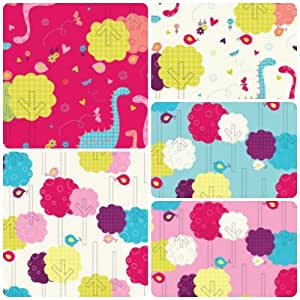 Yellow blue pink and white 5 fat quarter dinosaur trees for Childrens fabric bundles