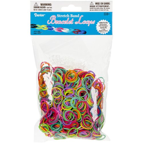 Darice 1036-Piece Stretch Band Bracelet Loops and S-Clips Set, Mix - 1