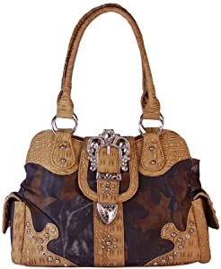 Vera Handbags Womens Western Style Camo Satchel Rhinestone Buckle Handbag Purse