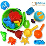 Baby Beach Toys, Toy Icon 16-piece Set Sand Bath Tub-toys with Convenient Zippered Bag Creates Fun for Your Kids & Unleash Their Creativity- Includes Handled Bucket, a Funnel, Hand Tools and 10-molds -Best Used At Beaches, Parks, Yard!